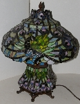 "+Lamps #0046 ""2003 Beautiful Tiffany Style Double Lit Peacock Table Lamp"""
