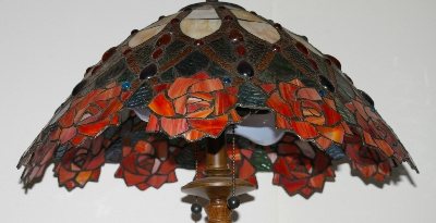 "Lamps #0038  ""Tiffany Style Rose Table Lamp"""