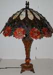 "+Lamps #0038  ""2002 Tiffany Style Rose Table Lamp"""