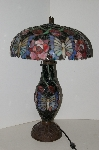 "+Lamps #0054  ""2004 Tiffany Style Butterflys & Roses Double Lit Table Lamp"""