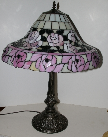 "Lamps #0073  ""Tiffany Style Pink Rose Table Lamp"""