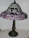 "+Lamps #0073  ""2002 Tiffany Style Pink Rose Table Lamp"""