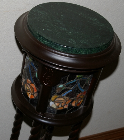 "Lamps #0061  ""Tiffany Style Stained Glass Rose Pedestal Lamp"""