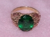 "Lamps II #0100 ""Black Hills Gold Oval Cut Green Helenite Gemstone Ring"""