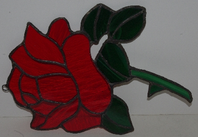 "Lamps II #0013  ""Large Red Rose Stained Glass Window Suncatcher"""