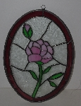"+Lamps II #0018  ""2001 Beautiful Pink Rose Stained Glass Suncatcher"""