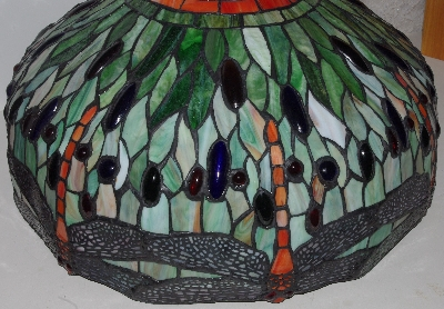 "LAMPS II #0271  ""Tiffany Style Dragonfly Stained Glass Table Lamp"""