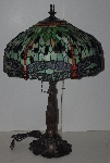 "+LAMPS II #0271  ""2002 Tiffany Style Dragonfly Stained Glass Table Lamp"""