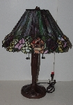 "+Lamps II #289  ""2003 Tiffany Style 3D Look Rose Stained Glass Table Lamp"""