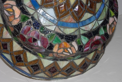 "LAMPS II #0296  ""Tiffany Style Stained Glass  Roses & Cabachons Table Lamp"""