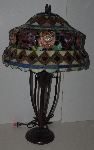 "+LAMPS II #0296  ""2003 Tiffany Style Stained Glass  Roses & Cabachons Table Lamp"""