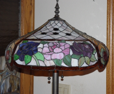 "Lamps II #443  ""Tiffany Style Large Rose Stained Glass Floor Lamp"""