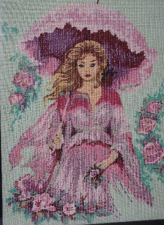 "*Lamps II #0385  ""1989  Mademoiselle"" Hand Beaded Glass Tapestry"