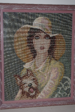 "*LAMPS II #0400  ""1989 Lady & Her Dog Hand Beaded Tapestry"""