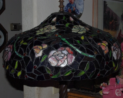 "Lamps II  #467  ""Tiffany Style Rose & Dragonfly Floor Lamp"""