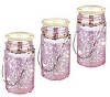 """2014 Set Of 3 Pink Mercury Glass Indoor/Outdoor Mason Jar Lights"""