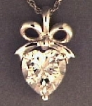 """Sterling Diamonique 4Ct Heart Pendant With 18"" Chain"""