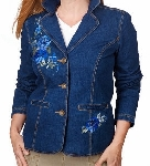 "MBAMG #79Blue ""Denim & Co Blue Denim Embroidered Jacket"""