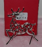 "MBA #1313-186   ""Lenox Set Of 2 Silverplate Reindeer Ornaments"""