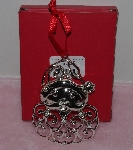 "MBA #1313-179    ""Lenox Sparkle & Scroll Clear Crystal Silver Plated Santa Ornaments"""