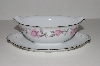 "+MBA #S18-132 ""Charmaine By Sango Pink Roses & Platinum Trim Gravy Boat"""