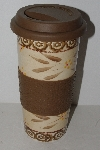 "MBA #1313-142  ""Brown Old World Pattern Ceramic Tumbler"""