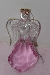 "+MBA #1313-61  ""Pink Set Of 2 Faceted Glass Angel Ornaments"""