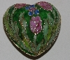 "MBA #1515-0136   ""Pink & Green Cloisaonne Enameled Heart Trimket Box"""