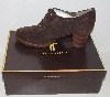 "MBA #1515-121    ""Tignanello Suede Dark Brown  Lace-Up Oxford Shooties With Stacked Heals"""