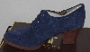 "MBA #1515-117    ""Tignanello Suede Navy Lace-Up Oxford Shooties With Stacked Heels"""