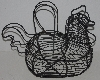 "MBA #1515-088   ""1970's Black Metal Basket Wire Chicken Egg Basket"""