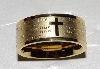 "MBA #1515'-0020   ""Gold Tone Stainless Ateel ""Our Father"" Prayer Band Ring"""