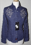 "MBA #1515-0047  ""90 Proof By Panhandle Slim Ladies Blue Embroidered Western Shirt"""