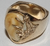 "MBA #1616- 355    ""Men's Size 10 Elk Ivory 14K Yellow Gold Ring"""