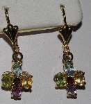 "MBA #1616-359   ""14K Yellow Gold Gemstone Cross Earrings"""