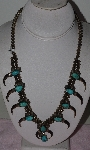 "MBA #1616-203    ""Son Of Bear Sterling , Blue Turquoise & Coyote Claw Squash Blossom Necklace"" &"