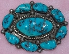 "MBA #1616-0290  ""9 Stone Blue Turquoise Pin"""