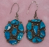 "MBA #1616-0284  ""Pair Oval Vintage Blue Turquoise Earrings"""
