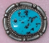 "MBA #1616-0292  ""Small Signed Blue Turquoise Pin/Pendant"""