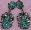 "MBA #1616-0304  ""E. KEE Signed Sterling Blue Turquoise Earrings"""