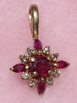 "MBA #1616-324  ""1980's 14K Yellow Gold Ruby & Daimond Pendant"""