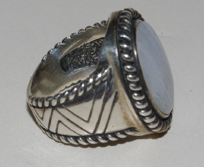 "MBA #1616-193  ""Fancy Blue Lace Agate Sterling Ring"""