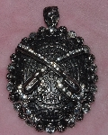 "MBA #1616-0128  ""Clear Crystal Rhinestone 2 Gun Large Pendant With Magnetic Closure"""