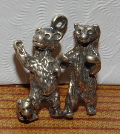 "MBA #1515-204  ""Set Of 7 Mixed Sterling Bear Pendants/Charms"""