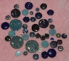 "MBA #1616-0070  ""Vintage Lot Of 42 Blue Buttons"""