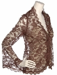 "MBA #1616  ""M By Marc Bouwer Brown Lace Jacket With Contrast Knit Tank"""
