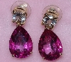 "MBA #1616-328  ""14K Yellow Gold Pink & White Topaz Drop Earrings"""