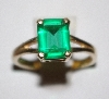 "MBA #1818-0153  ""14K Yellow Gold Square Cut Green CZ Ring"""