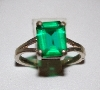 "+MBA #1818-0126  ""Sterling Square Cut Green CZ Ring"""