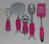 "MBA #2020-0054 ""Set Of 5 Pink Silicone Handled Cooking Utensils"""